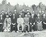 国営田沢疏水開拓建設事業 起工式 当日の来賓 前列右から5人目が溝口初代国営所長